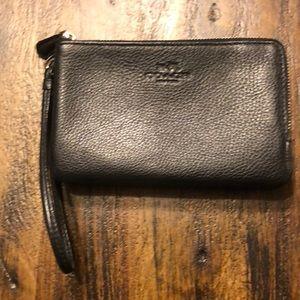 Coach Black Leather Double Zip Wristlet